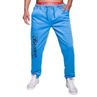 EOZY FASHION Men Sport Sweat Pants Korean Style Male Loose Casual Pants Stylish Baggy Dance Training Running Jogging Trousers (Blue) (Intl)