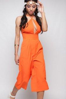 SuperCart Women Deep V Neck Spaghetti Strap Solid Loose Jumpsuit (Orange) (Intl)