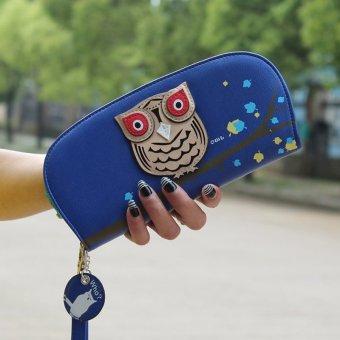 Cute owl hollow semicircle perspective zipper Women Long Wallet - Intl