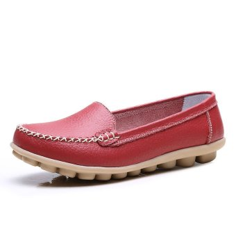 PINSV Women Fashion Flats Shoes Casual Loafers(Red) - Intl