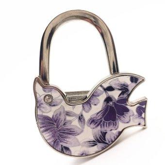 BolehDeals BolehDeals Foldable Peace Dove Purse Hanger Handbag Safer Table Hook Decor Purple - INTL