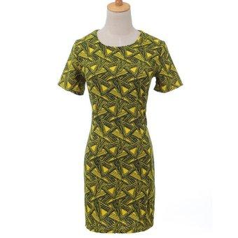 Women Geometric Print Crew Neck Short Sleeve Bodycon Chiffon Party Mini Dress (Yellow)