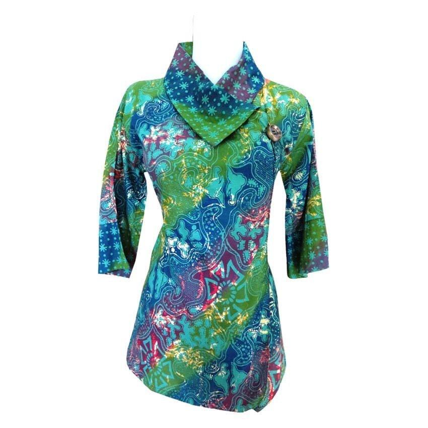 harga Batik Ardis Blouse Kerah Kimono - Hijau Lazada.co.id