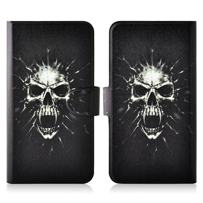 Hot Terror Bkack Skull PU Leather New Flip Case Cover For Samsung Galaxy Ace Duos S6802