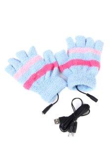A Pair of USB Heated Winter Hand Warmer Glove Mitten (Blue) - INTL