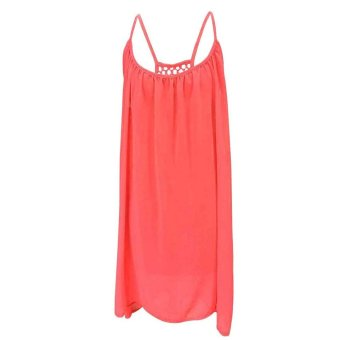 ETOP New Fashion Women Sexy Casual Loose Chiffon Round Neck Sleeveless Back Hollow Solid A-Line Short Dress S-XL (Red) (Intl)
