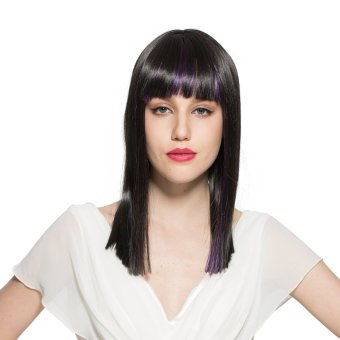 NUOLUX CP9T-327 18-inch Women's Girls Long Straight High Temperature Fiber Synthetic Wig Hair Pieces Hair Extension with Bangs /Built-in Adjustable Hair Cap Black+Purple
