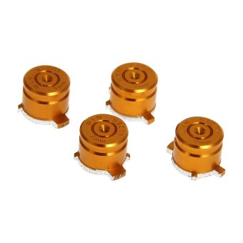 Generic 4x Aluminum Bullet Buttons 9mm Keys Set for Sony PS3 PS4 Controller Metal Orange - Intl
