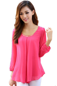 Linemart Loose Chiffon Long Sleeves Blouse (Pink) (Intl)