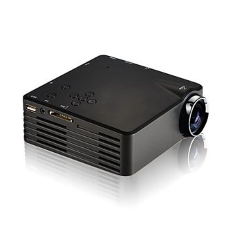 Mini Portable Projector LED 120 Lumens with Analog TV Receiver + SD Card Support 480x320P - GP7S - Hitam