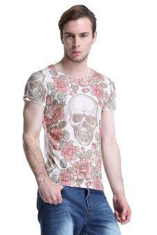 Clothingloves Flower Skulls Print T-Shirt (Multicolor)