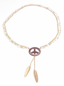 Peace Wood Necklaces Gold