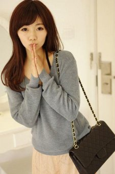 Cyber Women V-neck Long Sleeve Pocket Soft Knitted Jumper Sweater Top (Grey)