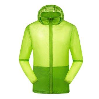 EOZY Fashion Men's Sun-protective Clothing Korean Style Male Windproof Waterproof Jacket Ultra-thin Ultra-light Summer Outdoor Sports Coats (Green) - INTL