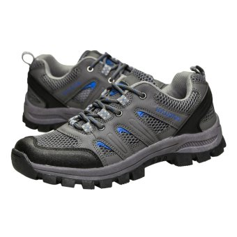 EOZY Men New Fashion Mesh PU Lace Up Hollowed Casual Outdoors Sports Running Hiking Shoes (Grey) (Intl)