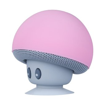 Mushroom Mini Wireless Portable Bluetooth Speaker with Mic (Pink) (Intl)