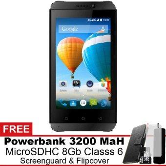 Evercoss Winner T3 4G LTE - 8 GB - Hitam Gratis Powerbank + Micro SDHC 8Gb + Screenguard + Flipcover