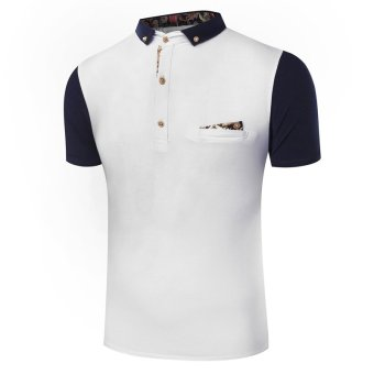 Men's new fashion slim Short-Sleeved shirt with patchwork designed(WHITE) - Intl