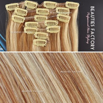 Beauties Factory Straight Clip in Remy Human Hair Extensions 20 inch #10/20 Light Ash Brown / Dark Ash Blonde