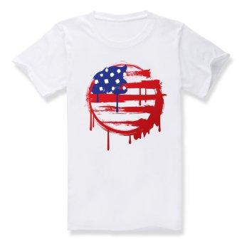 America United States flag Cotton Soft Men Short Sleeve T-Shirt (White) - Intl