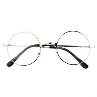 Harga Spesifikasi Chic 1x Silver white Round Metal Frame Clear Lens Glasses Accesorries Eyewear (Intl