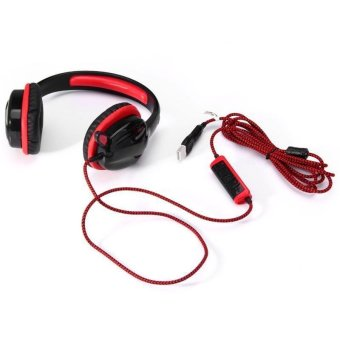 Sades SA - 904 Cobra Design 7.1 Surround Sound USB Gaming Headset with Mic Volume Control (RED WITH BLACK)