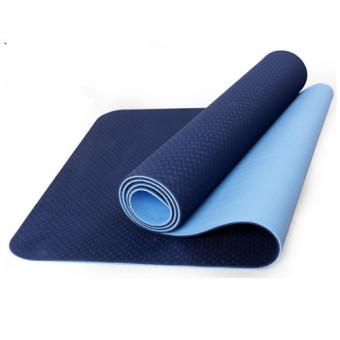 Slip Outdoor Sports Double Color 6mm TPE Yoga Mat (Blue) - Intl