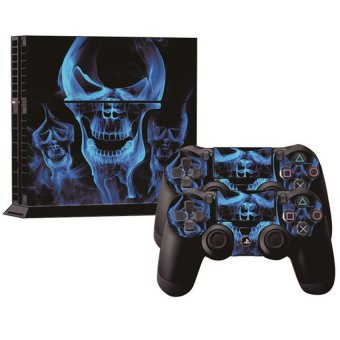 S & F PVC Skin Sticker Decal For PS4 PlayStation 4 Console + Controller Cover Blue Skull - Intl
