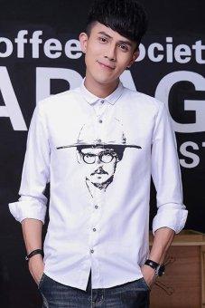 2015 Autumn Winter New Men's Casual Korea Style Linen Bottoming Shirt Slim Fit Full Sleeve Fashionmen Printing Shirts(White) (Intl)