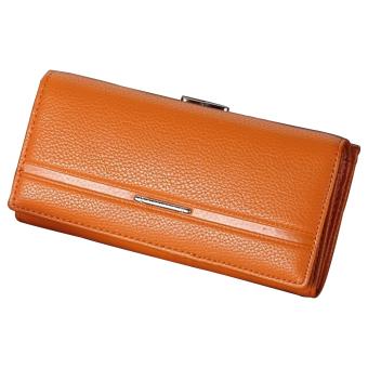 Sanwood Women's Fashion Faux Leather Long Bag Handbag Coin Purse(Orange) (Intl)