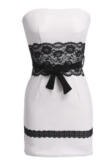 Azone Women's Sleeveless Strapless Sexy Stretch Dress (White) - Intl