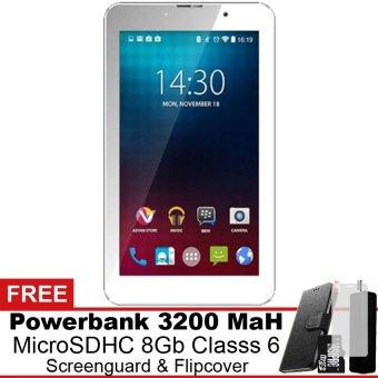Advan i7 4G LTE - 8 GB - Putih Gratis Powerbank + Micro SDHC 8Gb + Screenguard + Flipcover