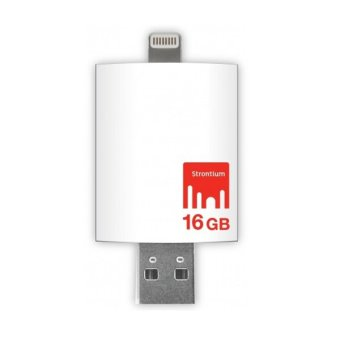 Strontium Nitro iDrive OTG USB 3.0 Flash Drive 16GB Lightning 8 Pin for iOS & Mac / PC - Putih