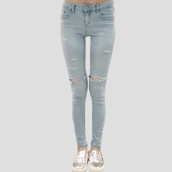 2015 Womens Ladies Skinny Faded Ripped Casual Slim Fit Cool Denim Cotton trousers Skinny Faded Ripped Casual Slim Denim Jeans (Intl)