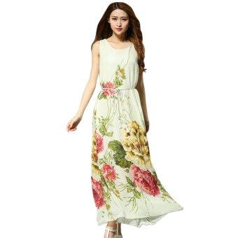 AOXINDA Women Sexy Floral Printed Chiffon Sleeveless Maxi Long Dress Size M - Beige - Intl