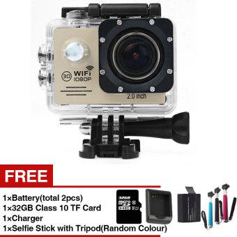 harga 2016 New Model Action Camera SJ7000 Wifi 2.0 LTPS LED Sports extreme Mini Cam Recorder Marine Diving 1080P HD DV(Sliver) Lazada.co.id