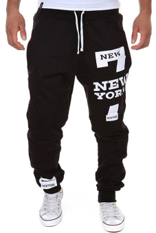 Cocotina Men's Casual Jogger Dance Sportwear Baggy Harem Pants Fashion Slacks Trousers Sweatpants (Black)- INTL
