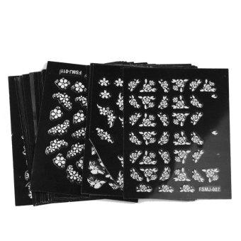 landor Flower and Grass Series Black Bottom 3D Design White Pattern Nail Art Stickers,30 Sheets - Intl