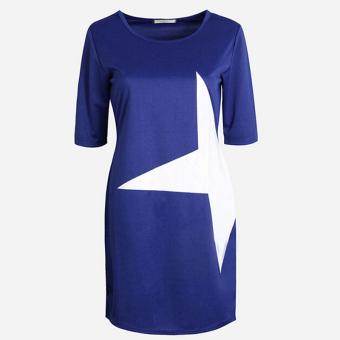 Jetting Buy Fashion Women Casual Loose Star Printed Half Sleeve Short Mini Dress Sport Gifts Dark Blue - Intl (Intl)