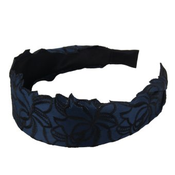 louiwill Women Elegent Lace Hair Band with Rose Arabesquitic,Dark Blue (Intl)