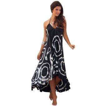 KUNPENG Womens Boho Summer Beach Long Dresses (Black) - Intl