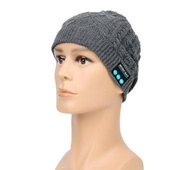 Soft Warm Beanie Hat Wireless Bluetooth Smart Cap Headset Headphone Speaker Mic (Grey) (Intl)