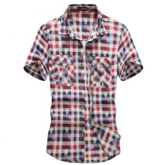 2016 European casual style M- XXXL obesity men's summer 100% pure cotton plaid loose short sleeve shirts man Green tops(Red) - INTL