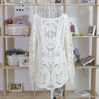 Blusas Femininas 2015 Women Embroidery Crochet Lace Long Sleeve Hollow Blouses Casual Solid O-Neck Blouse Shirt Plus Size Tops (Intl)