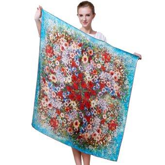 Women's Colorful Crepe Satin Plain Silk Scarf Scarves Shawl Kerchief (Multicolor)