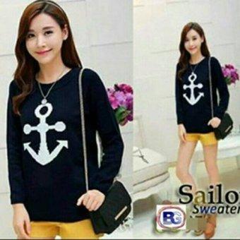 harga Fashion Bazaar Atasan Sailor Baju Rajut - Black Lazada.co.id