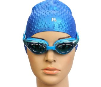 Vogue Press Adult Non-Fogging Anti UV Swimming Goggles Swim Glasses Adjustable Sky Blue (Intl)