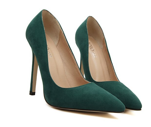 harga YUSONG Womens Pumps Party Shoes Pointed Toe High Heels Flock Shoes High Heels Green_5.5 B M US (Intl) Lazada.co.id