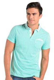 Penshoppe Polo Tee with Woven Combi - Hijau