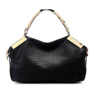 Alligator Pattern PU Women Handbag Shoulder Bag (Black) - Intl